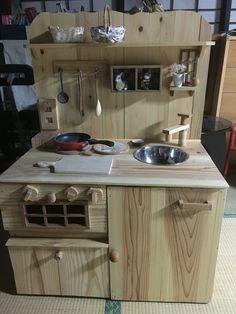 #DIY  kitchen set #ままごとキッチンセット、ヒデ爺が作ってくれました。