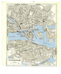 Stockholm Vintage City Map 1955
