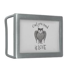 Owl you Need Rectangular Belt Buckle - accessories accessory gift idea stylish unique custom