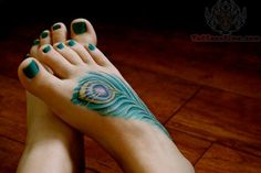 Peacock Feather Tattoo On Feet
