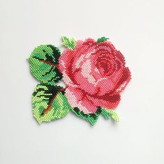Items similar to Pink Rose necklace.Bib necklace/Statement necklace/Multicolored necklace/Floral/big necklace on Etsy Pearler Bead Patterns, Pearler Beads, Fuse Beads, Lace Beadwork, Native Beadwork, Beaded Earrings Patterns, Beading Patterns, Bead Embroidery Jewelry, Beaded Embroidery