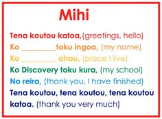 Room 13 Learning Spot: Te Reo Maori - My Mihi/Pepeha School Plan, I School, School Ideas, School Resources, Teaching Resources, Maori Words, Tools For Teaching, Teaching Quotes, Preschool Literacy