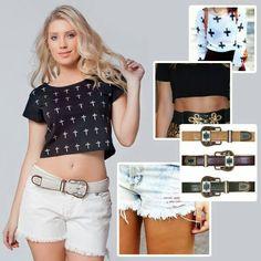 Blusa cropped, cinto navajo, estampa de cruz e shorts destroyed: quatro tendências em um só look!  A blusa é da coleção alto verão @Vínculo Basic ;)