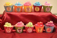 Washcloth cupcakes at a Alice in Wonderland Party #aliceinwonderland #babyshower