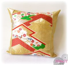 Vintage Japanese Kimono-OBI--pillow case, cushion cover, silk cushion,sofa bedding,embroidery on gold base--Made in Japan 004 by Hime21 on Etsy