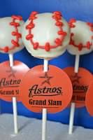 Baseball Cakepops, but with Dodger stamps