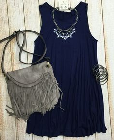 Back at It Tunic Dress: Navy