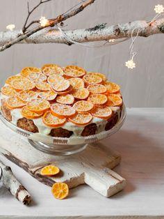 Tarta de limón, granache de chocolate blanco y mandarinas caramelizadas