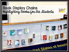 Book Display Chains are a great way to highlight books that the kids might miss on the library shelves. - New Deko Sites Classroom Walls, Classroom Design, School Classroom, Classroom Organization, Elementary Teacher, Upper Elementary, Elementary Schools, Elementary Library, Hidden Book