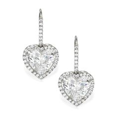 Pair of 18 Karat White Gold and Diamond Earrings - Sotheby's