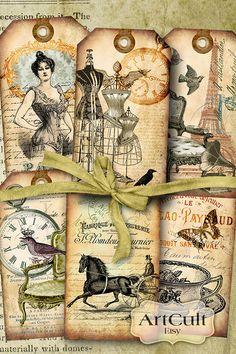 VINTAGE ELEGANCE No3  Digital Collage Sheet Printable by ArtCult, $4.90