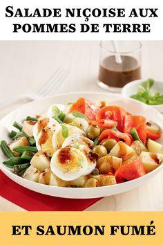 On réinvente la classique salade niçoise en y ajoutant des pommes de terre et du saumon fumé. Un délicieux repas de semaine très facile à réaliser! Pasta Salad, Ethnic Recipes, Food, Nicoise Salad, Salads, Recipe, Healthy Meals, Eat, Smoked Salmon