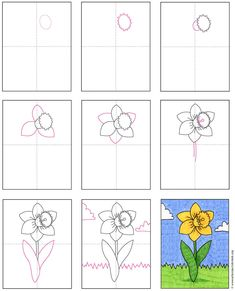 Create a pretty spring drawing with this how to draw a daffodil tutorial. The sunny yellow buttercup color will brighten any day. Drawing Tutorials For Kids, Art Drawings For Kids, Drawing Projects, Easy Drawings, Art For Kids, Art Children, Spring Arts And Crafts, Spring Art Projects, Tulip Drawing
