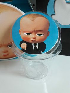 The boss baby sticker tags for container you can add gummy bears, peanuts, mints, or any other goodies for candy table