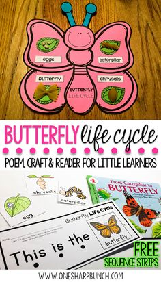 Kindergarten and primary students all about the life cycle of a butterfly with this butterfly life cycle poem, butterfly craft and FREE butterfly life cycle sequence strips! They are the perfect way to bring a little science into your spring activities! 1st Grade Science, Preschool Science, Life Science, Science Fair, Science Notes, Science Experiments, Primary Science, Science Biology, Science Lessons