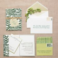 Stuffing Wedding Invites: The invite goes on the bottom; then stack your enclosures on top in order of largest to smallest (the smallest goes on the very top of the pile).