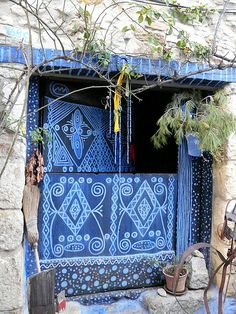 Blue doors with white decoration