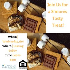 It's the perfect weather for some warm, gooey s'mores. Join us on Wednesday for a mid-week sweet treat! Yummy Treats, Sweet Treats, 3 Bedroom Floor Plan, Bedroom Flooring, Luxury Apartments, Renting A House, Wednesday, Join, Tasty