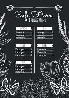 A centered cafe menu template with floral accents and lots of contrast to make it easy to read. Menu Template, Templates, Cafe Menu, Contrast, Reading, Floral, Easy, How To Make, Stencils