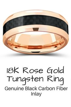 The most unique and stunning mens wedding band. This is a 18k rose gold tungsten wedding band inlaid with a black woven carbon fiber inlay. Designed with high polish beveled edges.