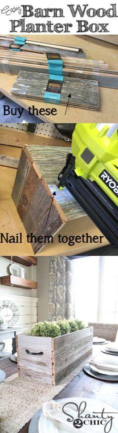 Super easy DIY Planter Box for under $10! Love the barn wood planks!
