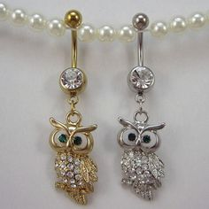 Crystalline Gem owl Belly Ring Silver gold piercing Accessary 316L medical stainless steel Hypoallergenic navel ring nail
