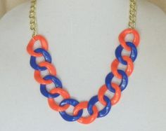 """Team Colors Jewelry,Adjustable 22""""Long Statement Necklace,Chunky Royal  Blue and Orange,Light Weight Acrylic,30x32mm Links,#SJ5006N by ckdesignsforyou. Explore more products on http://ckdesignsforyou.etsy.com"""