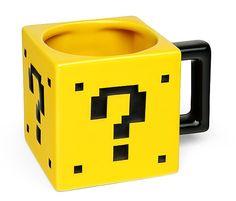 The Power-Up Mug looks like an Mystery Box, just like in Super Mario Bros. Each ceramic Power-Up Mug holds 17 oz. Coffee Art, Coffee Cups, Tadelakt, Gamer Room, Nerd Room, Cool Mugs, Nintendo, Mystery Box, Calla Lilies