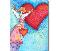 Ansichtkaart van een engeltje met harten door ittiillustrations