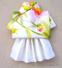 A Cup Of Sparkle: Let's Hula Hawaii!... Hula Girl Napkin Fold Tutorial