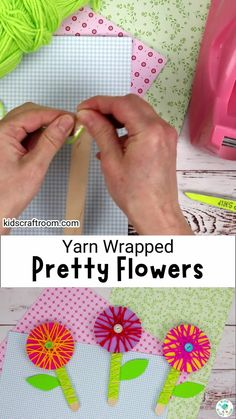 Pretty Yarn Wrapped Flowers