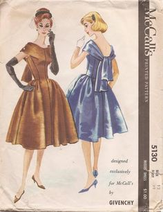 McCall's 5130; ©1959; Designed exclusively for McCall's by Givenchy - Misses' Dress.  Bouffant dress with back scarf cut in one with dress f...