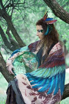 """For the project """"Winged people"""" #Sirin #heaven #bird #sidhe #shovava #feather #faery #fairy #girl #image #character #green #blue #wings #fairytale #tree #dreamcatcher #curly #fantasy"""