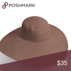 """IN STOCK 👒 Large 6"""" brim Floppy sun hat Large brim floppy sun hat. 6"""" brim. 7.5"""" diameter 4"""" high. Brown. Has wire around the edge so you can adjust the shape!! This hat is GORGEOUS! I only have 3 available for sale! *this mannequin head is smaller than the average head size* Bundle to save 📦 Accessories Hats"""