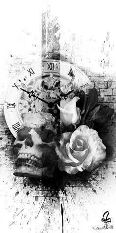 Tattoo, Photoshop, skull, Watch, rose, Burtscher N.