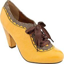 Poetic License yellow oxford bootie with gingham and ribbon laces
