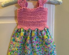 Cute Summer Dress with crochet top and polka dots bottom