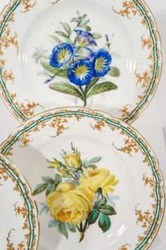 19th c. Old Paris Hand Painted 18 Piece Botanical Dessert Service image 3