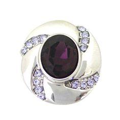 "Chunk Snap Charm Purple Stone 20mm, 3/4"" Diameter"