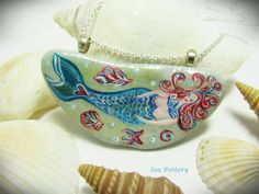 Unique Mermaid Pendant Necklace Hand Painted Sea by turquoiseeye