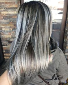 60 Shades of Grey: Silver and White Highlights for Eternal Youth Dark Brown Hair With Ash Blonde Highlights Ash Gray Hair Color, Silver Grey Hair, Ombre Hair Color, Cool Hair Color, Silver Ombre, Grey Ombre, Hair Colors, Long Gray Hair, Silver Blonde