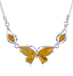 Little Butterfly Cognac Amber Necklace