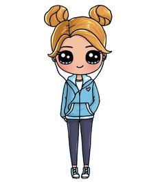 Kawaii Girl Drawings, Cute Animal Drawings Kawaii, Cute Cartoon Drawings, Cute Easy Drawings, Cute Girl Drawing, Girly Drawings, Cartoon Girl Drawing, Disney Drawings, Kawaii Doodles