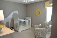 CUTE baby room ideas. GIRAFFE! And yellow and grey! I wonder if Casey would like the giraffe? I love it!