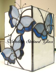 Stained Glass Electric Candle Box - Butterflies #StainedGlassButterfly #StainedGlassBox