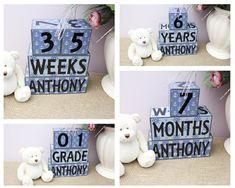 Nautical Baby Shower Gift, Baby Age Blocks With Name, Personalised Baby Milestone Sign, Nautical Nursery Decor, Large Wooden Baby Blocks