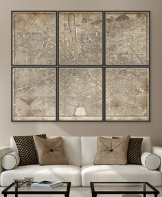 1739 Plan de Paris - Set of 6 Premium Framed Art by MINDTHEGAP