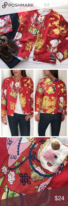 """Citron Rising Sun Jacket Citron Rising Sun Jacket   size L; silk/linen . Swing jacket in lightweight linen blend with button front   a-line styling; slight bell sleeves   button/tab detail on center back   vibrant print thats's cute over a simple tee!   machine wash . Like New, smoke-free home  . 22"""" UA to UA 22"""" sleeve 21.5"""" length Anthropologie Jackets & Coats"""
