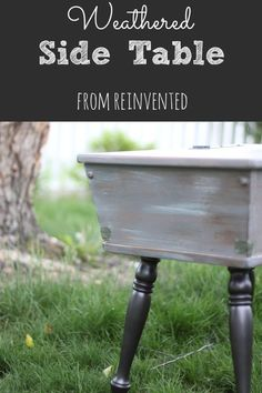 You won't believe the BEFORE photo!  Escort a 1970's side table in to 2015 with paint and a little aluminum.