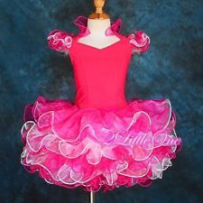 Hot Pink Cup Cake Halter National Pageant Dress DIY Shell Toddle Size 7 PT002